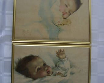 Bessie Pease Gutmann Awakening and also vintage print of A little bit of heaven