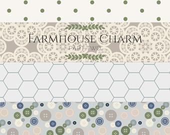 Farmhouse Style Paper, Farmhouse Scrapbook, Farmhouse Digital,  Shabby Chic Digital Paper, Rustic Digital Paper