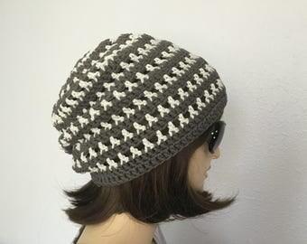 Womens Summer Crochet Hat Women or Men Summer Slouchy Beanie in Gray Strips Spring Hat Summer Fashion