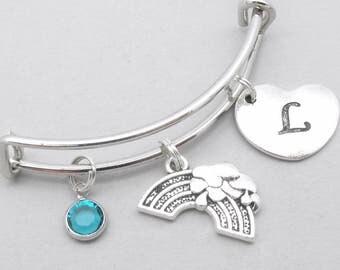 Rainbow heart initial charm bracelet | rainbow bangle | personalised rainbow bracelet | rainbow jewelry | rainbow gift | birthstone | letter