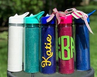 Monogrammed Water Bottle,Monogrammed Glitter Bottle,Glitter Water Bottle,Sparkly Water Bottle,Personalized Water Bottle,Bridesmaid Gift