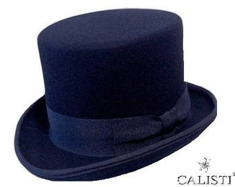 Blue tuba cylinder Top hat zylinder Made in Italy 14 Cm. Groom Tight Tail coat