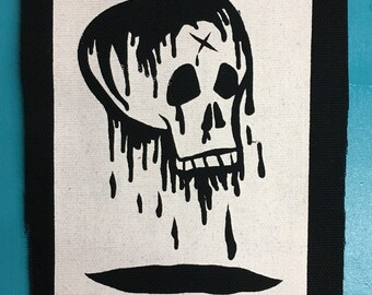 Bleeding skull screenprinted patch