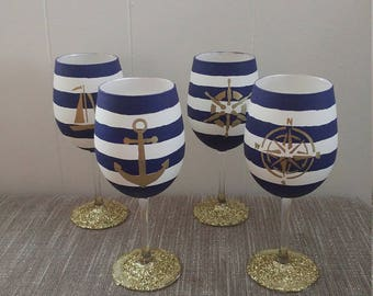 Nautical Hand Painted Wine Glasses Set of 6