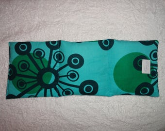 Heat Pack, rice filled. Microwaveable, can be used for warm or cool therapy, for relaxation or pain relief. Aqua Mod/Aqua fabric.