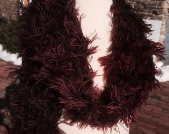 Hand-knit burgundy faux fur scarf