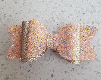 Handmade Peachy pink Glittery/Faux Leather Hair Bow, hair clips, handmade, gifts for girls, Alligator clip