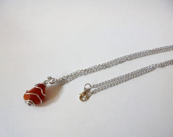 Carnelian Necklace, Birthstone Necklace, Carnelian birthstone jewellery, made in UK, Sterlin silver necklace, mothers day,birthday,Christmas