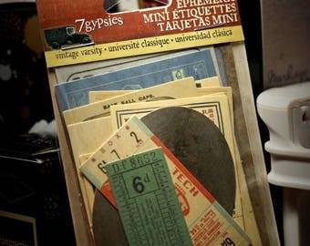 7 Gypsies mini ephemera Vintage Varsity