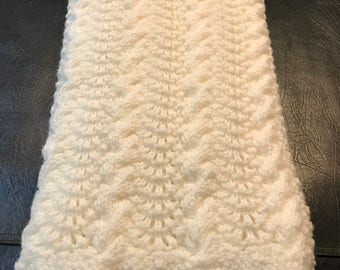 Handmade White Cable-knit Baby Blanket