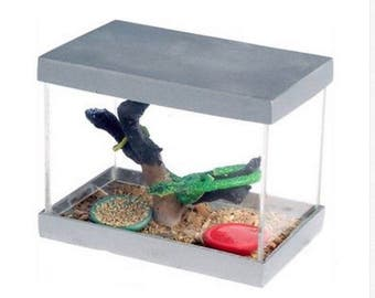 Dollhouse Miniature Pet Snake In An Aquarium