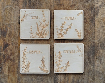 Cup coaster with herbal theme