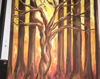 Warm colored acrylic tree painting