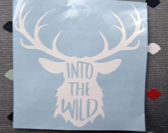 "Vinyl Decal ""Into The Wild"",deer antlers"