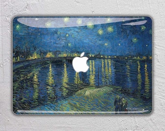 famous art macbook skin macbook decal painting macbook sticker paint macbook cover air Starry night over the Rhone Vincent Van Gogh FSM130