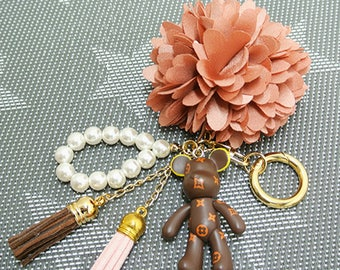 Cute Toy and flower Key chain / Key holder / Bag charm / Bags accessories / Gift / Cuit key chain / For her gift