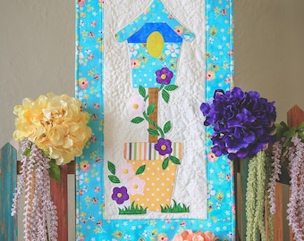 Spring Birdhouses Quilted Wall Hanging