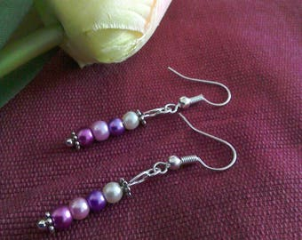 Glass pearl silver plated earrings, all the purples