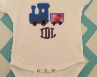 Train onesie, tshirt, bib or burpcloth