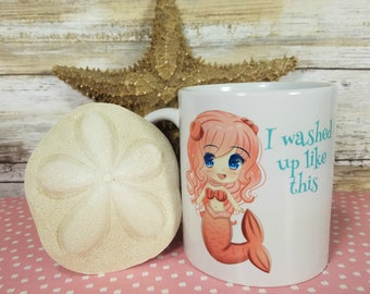 Mermaid Mug Cute Kawaii Chibi Design with or without text