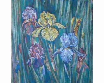 Pastel, iris, Yellow iris, blue flowers, blue iris ,modern author's painting,decoration of an interior59x55 Razumeyko Catherine
