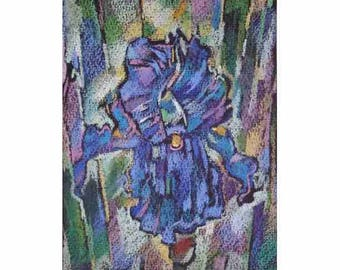 Pastel iris, Blue flowers, blue iris, modern painting,modern author's painting,decoration of an interior,24x19cm, Razumeyko Catherine