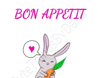 Cute bunny with a carrot. Bon Appetit.