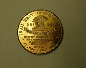 Dakota Territory Centennial 1961 George Armstrong Custer Commemorative Token