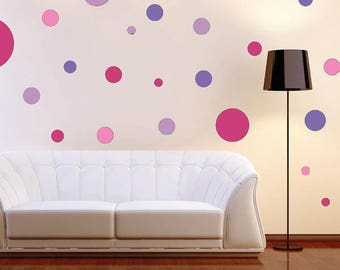 Assorted 120 Vinyl Polka Dot Circle Wall Decals Pink & Lilac Collection, High Quality Removable Wall Decals, Home Decor, Wall Decor