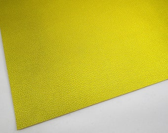 SAMPLE 4X4 Metallic Yellow Gold 4X4 Textured Faux Leather, Mustard Yellow Soft Cotton Backing