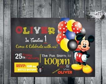 Mickey Mouse Birthday Birthday Invitation