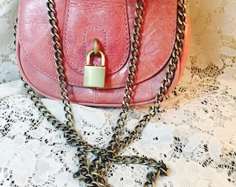 Banana Republic Small Leather Pink Shoulder Bag - Crossbody - Gold Chain