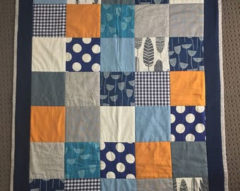 Blue and Grey modern baby quilt blanket