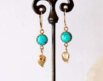 14k solid gold turquoise dangle earrings with leaves