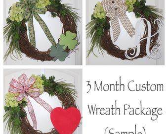 3 Month Custom Wreath Package - Front Door Wreath, Everyday Wreath, Wood Monogram, 2 Themes