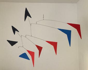Hand-Painted Alexander Calder Inspired Mid-Century Modern Abstract Kinetic Mobile Sculpture #11