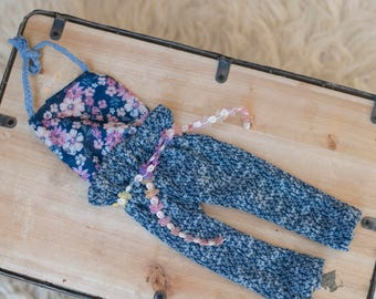 The Bailey-Photography girls prop-jersey-lace-pant-blue-white-floral-ready to ship- made to order, romper