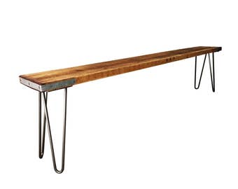Industrial Reclaimed Timber Scaffold Board Bench On Vintage, Retro Hairpin Legs