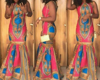 Dashiki dress, dashiki maxi dress