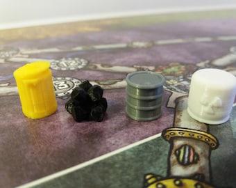 Powergrid board game, 3D printed resource token set