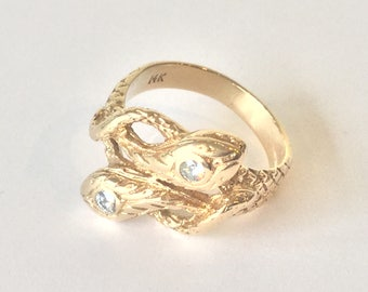 Vintage 14k Yellow Gold Double Snake Ring with Diamond Heads ~Size 7~
