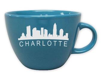 Charlotte Mug, City Skyline Coffee Mug, Home City Mug, Sandblasted Ceramic, 16 oz Coffee Mug, Large Coffee, North Carolina Mug, Etched Glass