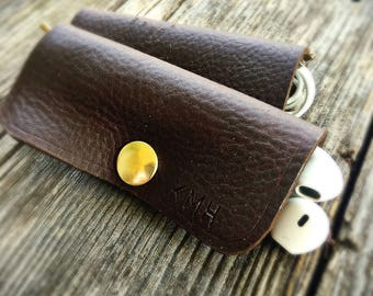 Leather & Brass Earbud Holder