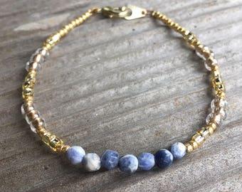 Blue Sodalite Stone Beaded Bracelet
