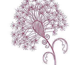 Dandylion Redwork - Machine Embroidery Design