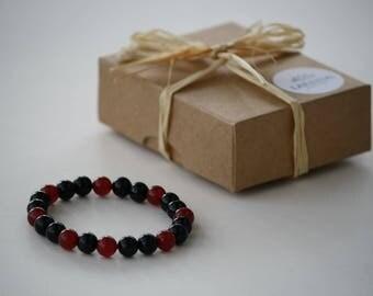 Carnelian-Onyx Gemstone Bracelet, Handmade Gemstone Jewellery, Gemstone Bracelet, Natural Healing Gemstone Bracelet, Gemstone Jewelry