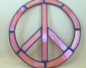 stained glass peace sign