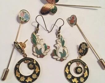 Vintage cloisonné jewelry lot