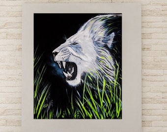 Lion, original acrylic painting, 20 x 24 in