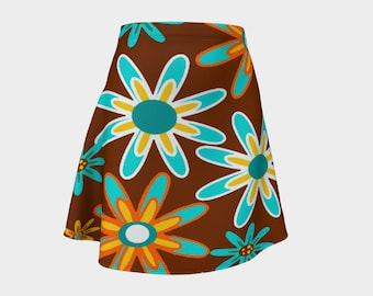 Retro, Skirt, Gift, Turquoise, For Her, Wife Gift, Womens Skirt, Gift, Flowers, A-Line Skirt, Womens Gift, Unique, Gift for Women, Brown